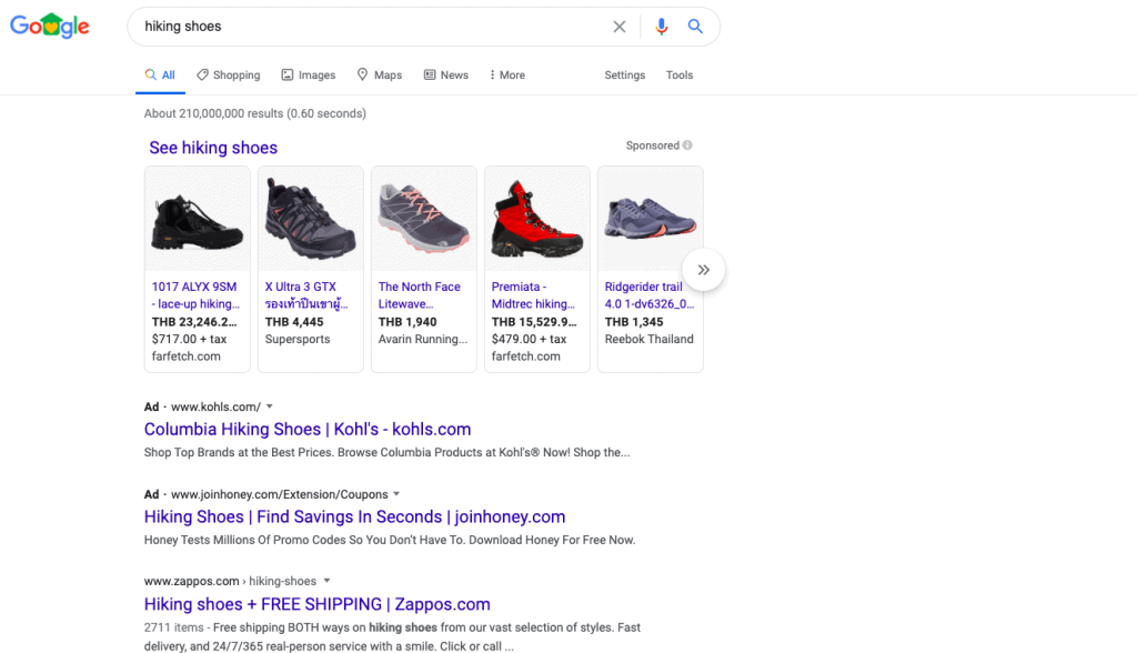 Example of paid search ads